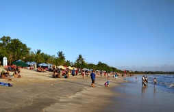 Kuta Beach on the busy southern side.